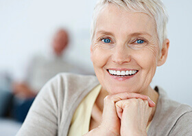 elderly woman smiling bright