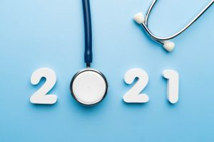 "a stethoscope that spells out ""2021"""